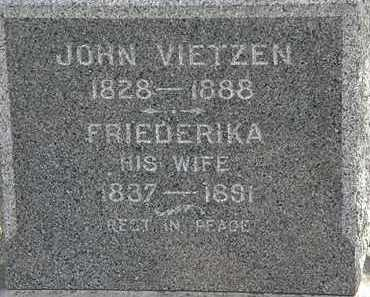 VIETZEN, FRIEDERIKA - Lorain County, Ohio | FRIEDERIKA VIETZEN - Ohio Gravestone Photos