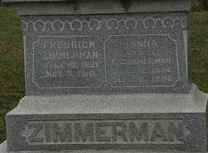 ZIMMERMAN, HANNA - Lorain County, Ohio | HANNA ZIMMERMAN - Ohio Gravestone Photos