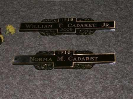 CADARET, WILLIAM T. AND NORMA M. - Lucas County, Ohio | WILLIAM T. AND NORMA M. CADARET - Ohio Gravestone Photos
