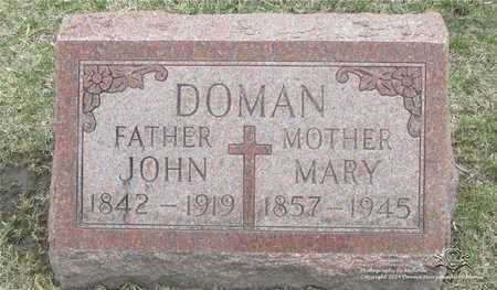 DOMAN, JOHN - Lucas County, Ohio | JOHN DOMAN - Ohio Gravestone Photos