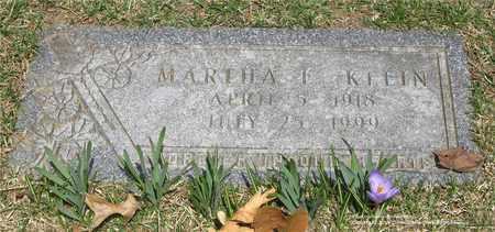 KLEIN, MARTHA F. - Lucas County, Ohio | MARTHA F. KLEIN - Ohio Gravestone Photos