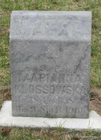 KLOSSOWSKA, MARIANNA - Lucas County, Ohio | MARIANNA KLOSSOWSKA - Ohio Gravestone Photos