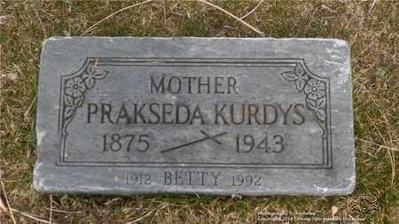 KURDYS, PRAKSEDA - Lucas County, Ohio | PRAKSEDA KURDYS - Ohio Gravestone Photos