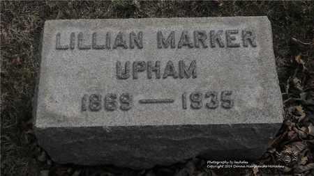 MARKER UPHAM, LILLIAN - Lucas County, Ohio | LILLIAN MARKER UPHAM - Ohio Gravestone Photos