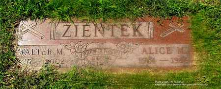 ZIENTEK, WALTER M. - Lucas County, Ohio | WALTER M. ZIENTEK - Ohio Gravestone Photos