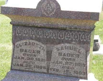 BADER, SAMUEL - Marion County, Ohio | SAMUEL BADER - Ohio Gravestone Photos
