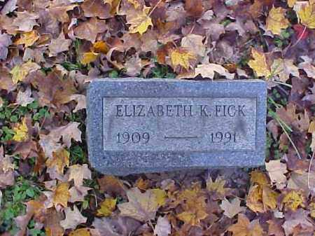 FICK, ELIZABETH - Meigs County, Ohio | ELIZABETH FICK - Ohio Gravestone Photos