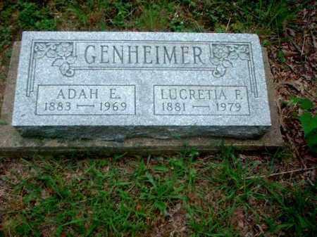 GENHEIMER, LUCRETIA F. - Meigs County, Ohio | LUCRETIA F. GENHEIMER - Ohio Gravestone Photos