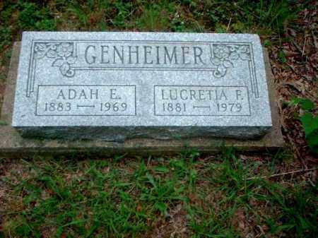 GENHEIMER, ADAH E. - Meigs County, Ohio | ADAH E. GENHEIMER - Ohio Gravestone Photos