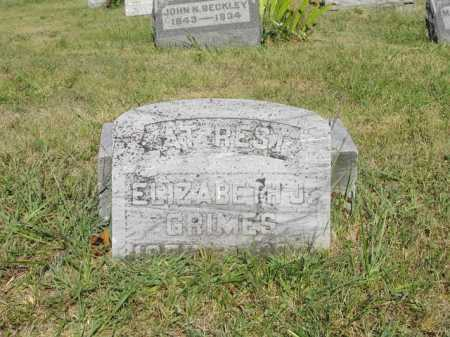 GRIMES, ELIZABETH J - Meigs County, Ohio | ELIZABETH J GRIMES - Ohio Gravestone Photos