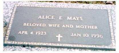 MAYS, ALICE E. - Meigs County, Ohio   ALICE E. MAYS - Ohio Gravestone Photos
