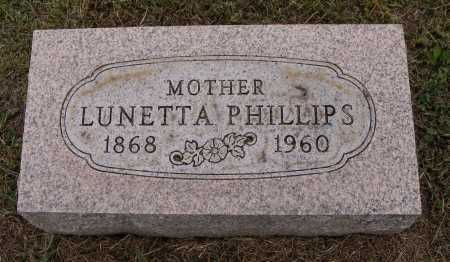 PHILLIPS, LUNETTA - Meigs County, Ohio   LUNETTA PHILLIPS - Ohio Gravestone Photos