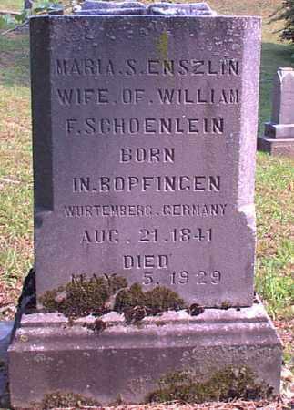 ENSZLIN SCHOENLEIN, MARIA S. - Meigs County, Ohio   MARIA S. ENSZLIN SCHOENLEIN - Ohio Gravestone Photos