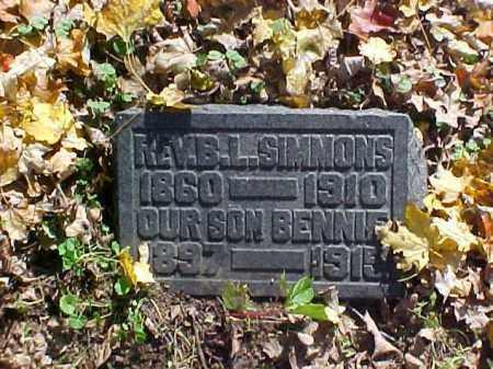 SIMMONS, B. [BENJAMIN] L., REV. - Meigs County, Ohio | B. [BENJAMIN] L., REV. SIMMONS - Ohio Gravestone Photos