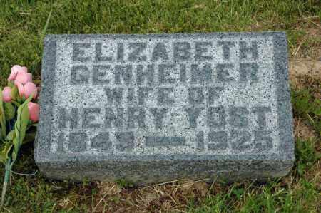 GENHEIMER YOST, ELIZABETH - Meigs County, Ohio   ELIZABETH GENHEIMER YOST - Ohio Gravestone Photos