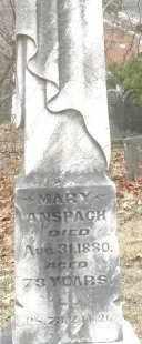 ANSPACH, MARY - Montgomery County, Ohio | MARY ANSPACH - Ohio Gravestone Photos