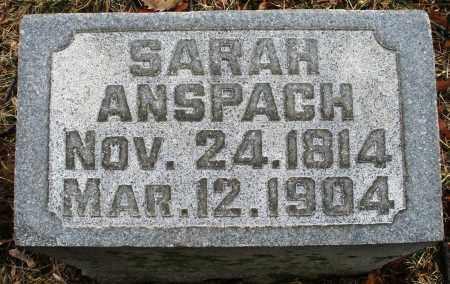 ANSPACH, SARAH - Montgomery County, Ohio   SARAH ANSPACH - Ohio Gravestone Photos