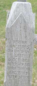 BACZENAS, BERTHA - Montgomery County, Ohio   BERTHA BACZENAS - Ohio Gravestone Photos
