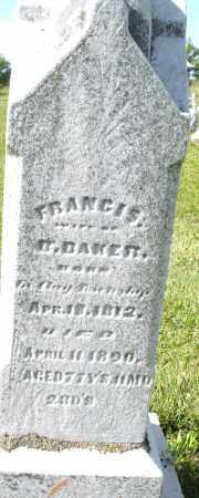BAKER, FRANCIS - Montgomery County, Ohio   FRANCIS BAKER - Ohio Gravestone Photos