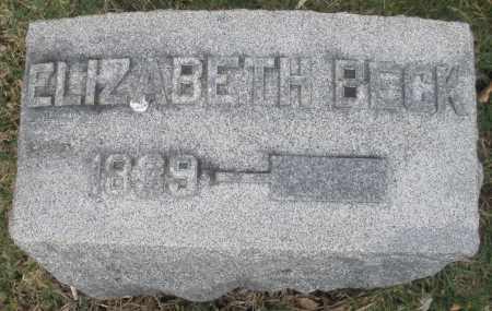 BECK, ELIZABETH - Montgomery County, Ohio | ELIZABETH BECK - Ohio Gravestone Photos
