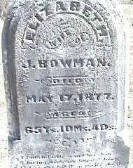 BOWMAN, ELIZABETH - Montgomery County, Ohio | ELIZABETH BOWMAN - Ohio Gravestone Photos