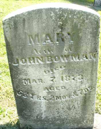 BOWMAN, MARY - Montgomery County, Ohio   MARY BOWMAN - Ohio Gravestone Photos