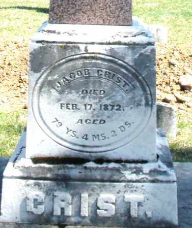 CRIST, JACOB - Montgomery County, Ohio   JACOB CRIST - Ohio Gravestone Photos