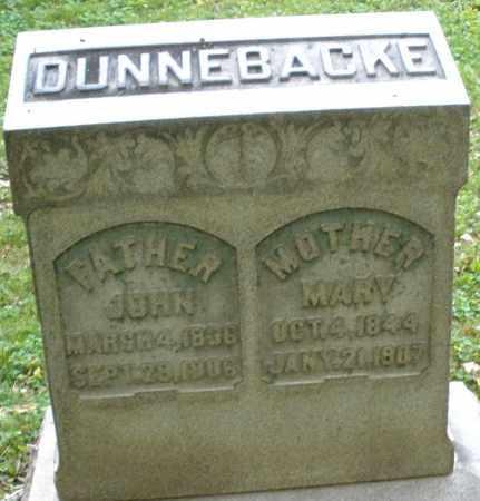 DUNNEBACKE, MARY - Montgomery County, Ohio | MARY DUNNEBACKE - Ohio Gravestone Photos