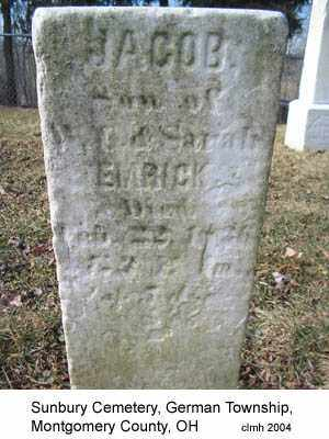 EMRICK, JACOB - Montgomery County, Ohio   JACOB EMRICK - Ohio Gravestone Photos