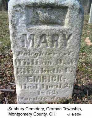 EMRICK, MARY - Montgomery County, Ohio | MARY EMRICK - Ohio Gravestone Photos