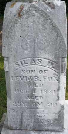 FOX, SILAS D. - Montgomery County, Ohio   SILAS D. FOX - Ohio Gravestone Photos