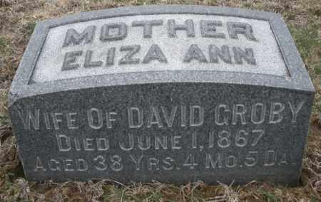 GROBY, ELIZA ANN - Montgomery County, Ohio | ELIZA ANN GROBY - Ohio Gravestone Photos