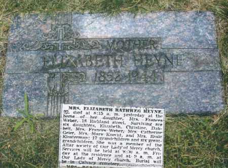 HEYNE, ELIZABETH - Montgomery County, Ohio   ELIZABETH HEYNE - Ohio Gravestone Photos