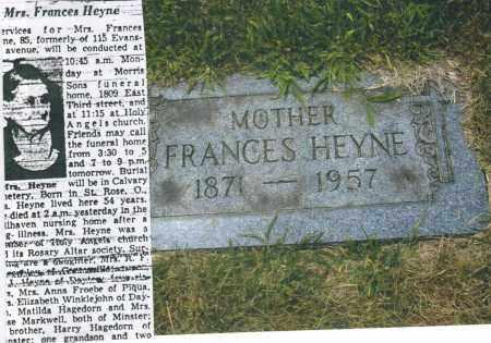 HEYNE, FRANCES - Montgomery County, Ohio | FRANCES HEYNE - Ohio Gravestone Photos