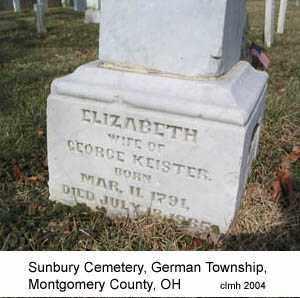KEISTER, ELIZABETH - Montgomery County, Ohio | ELIZABETH KEISTER - Ohio Gravestone Photos