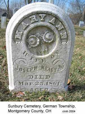 KEISTER, MARY ANN - Montgomery County, Ohio | MARY ANN KEISTER - Ohio Gravestone Photos