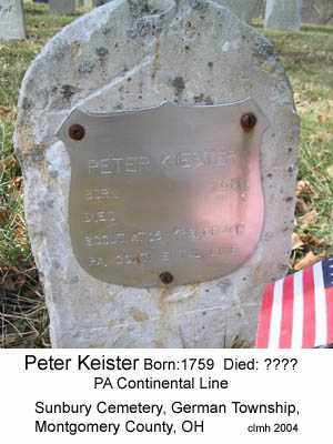 KEISTER, PETER - Montgomery County, Ohio | PETER KEISTER - Ohio Gravestone Photos