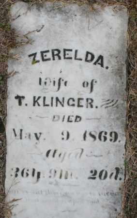 KLINGER, ZERELDA - Montgomery County, Ohio   ZERELDA KLINGER - Ohio Gravestone Photos