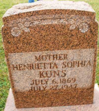 KUNS, HENRIETTA SOPHIA - Montgomery County, Ohio   HENRIETTA SOPHIA KUNS - Ohio Gravestone Photos