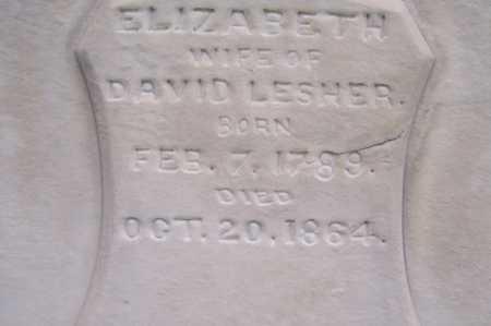 LESHER, ELIZABETH - Montgomery County, Ohio   ELIZABETH LESHER - Ohio Gravestone Photos