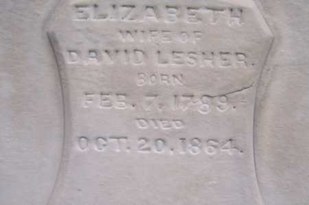 LESHER, ELIZABETH - Montgomery County, Ohio | ELIZABETH LESHER - Ohio Gravestone Photos