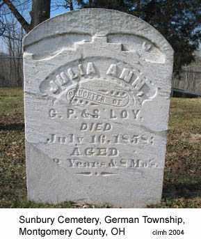 LOY, JULIA ANN - Montgomery County, Ohio | JULIA ANN LOY - Ohio Gravestone Photos