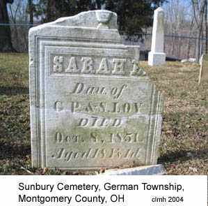 LOY, SARAH E - Montgomery County, Ohio | SARAH E LOY - Ohio Gravestone Photos
