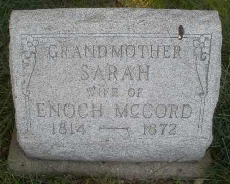 MCCORD, SARAH - Montgomery County, Ohio | SARAH MCCORD - Ohio Gravestone Photos