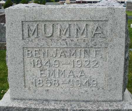 MUMMA, BENJAMIN F. - Montgomery County, Ohio | BENJAMIN F. MUMMA - Ohio Gravestone Photos
