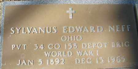 NEFF, SYLVANUS EDWARD - Montgomery County, Ohio | SYLVANUS EDWARD NEFF - Ohio Gravestone Photos
