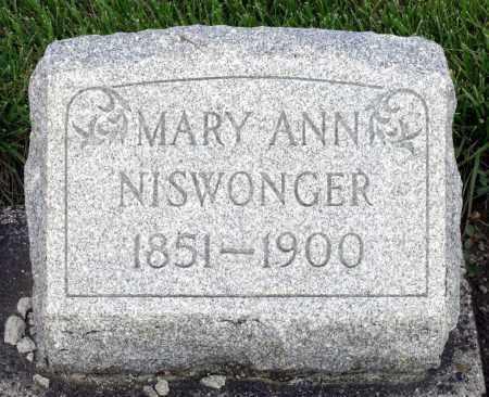 NISWONGER, MARY ANN - Montgomery County, Ohio   MARY ANN NISWONGER - Ohio Gravestone Photos