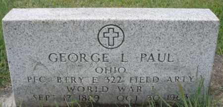 PAUL, GEORGE L. - Montgomery County, Ohio   GEORGE L. PAUL - Ohio Gravestone Photos