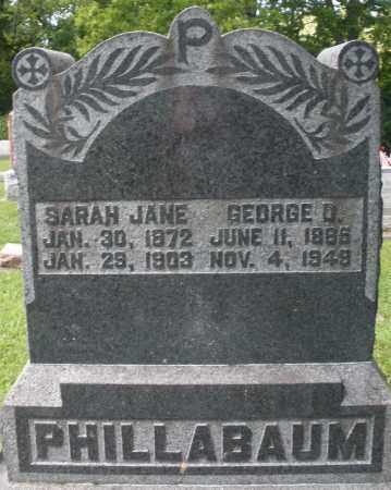 PHILLABAUM, SARAH JANE - Montgomery County, Ohio   SARAH JANE PHILLABAUM - Ohio Gravestone Photos