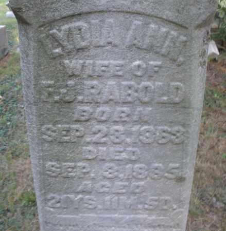 RABOLD, LYDIA ANN - Montgomery County, Ohio   LYDIA ANN RABOLD - Ohio Gravestone Photos